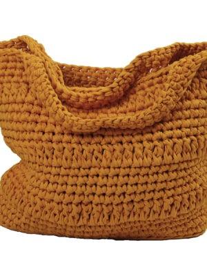 basic golden yellow crochet cotton shopper large